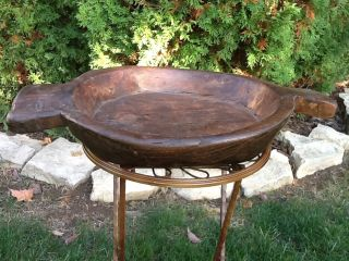 Heavy Antique Wood Dough Bowl With Handles photo