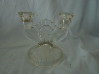 Vintage Glass Clear Candle Stick Holder Flower C1930 Depression Floral Tulip photo