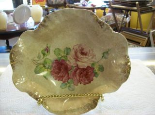 Vintage La Belle W&p China Foral Rose Design With Gold Tips p