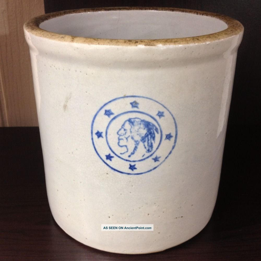 Antique Louisville Indian Head Stoneware Crock Early 1900 ' S Crocks photo