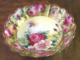 Antique Nippon Deep Bowl Beaded Gold Guild And Hand Painted