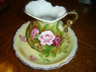 Vintage Pitcher & Bowl With Gold Trim photo