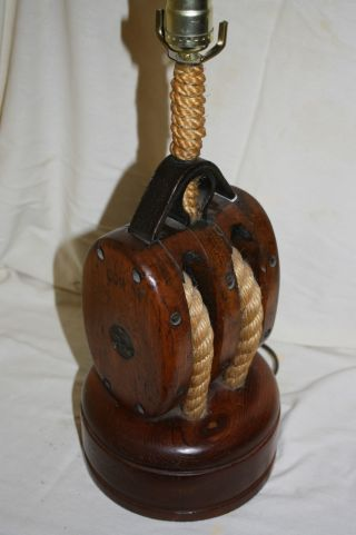 Absolutely Unique Antique Block & Tackle Nautical Lamp - Ships Block With Hemp. photo