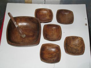 Antique Vintage Decorative Wooden Salad Soup Bowl Set Wood Sosan Philippines photo