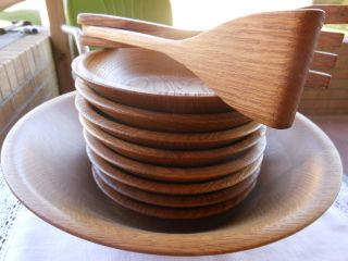 Vintage Teak Wood Bowls Salad Set Harvest Oak Wooden Bowls Danish photo