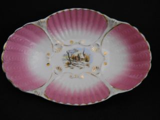 Vintage Hand Painted Winter Scene Porcelian Bowl~pink Shell - Gold Trim - 13