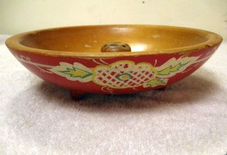 Antique Primitive Red Painted Woodenware Nut Bowl 1920s? - Holds Nutracker & Picks photo