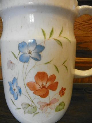 Vintage Pitcher Flower Decanter Hand Painted By Treasure Craft Retro Dining 80s photo