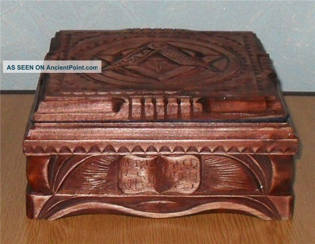 Rare Exclusive Casket Carving Wood Masonic For Jewelry