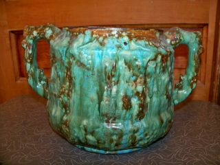 Unusual Antique Green And Brown Mottled Art Pottery Double Handled Planter photo