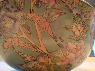 { Display Quality } Handpainted In Macau Porcelain Large Bowl Pink Flowered photo
