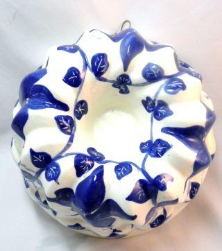 Vintage Decorative Blue & White Ceramic Jello Mold photo