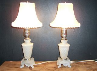 Pr.  Art Deco Glass Table Lamps Satin Glass Shades Ready To Use photo