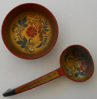 Antique Soviet Russian Hand Made & Painted Spoon And Bowl,  Russia photo