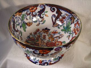 Antique English Lg.  Gaudy Welsh Ironstone Lustre Footed Compote Amherst Japan Pat photo