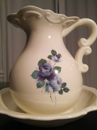 Meakin/hanley? Antique Water Basin/pitcher China/poreclain W/blue Tulips