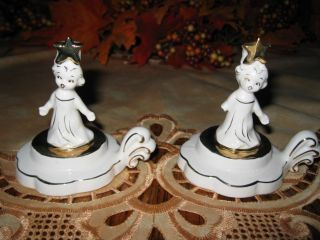 Vintage Holt Howard Christmas Girl Angel Figurine Star Candle Holders ~ Rare photo