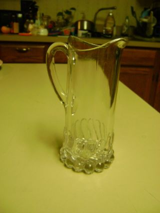 Antique Vintage Pressed Glass Milk Pitcher Heavy Patterned Base 6 1/4