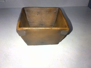 Antique Looking Handcrafted Square Wooden Flower Pot / Wooden Bowl photo