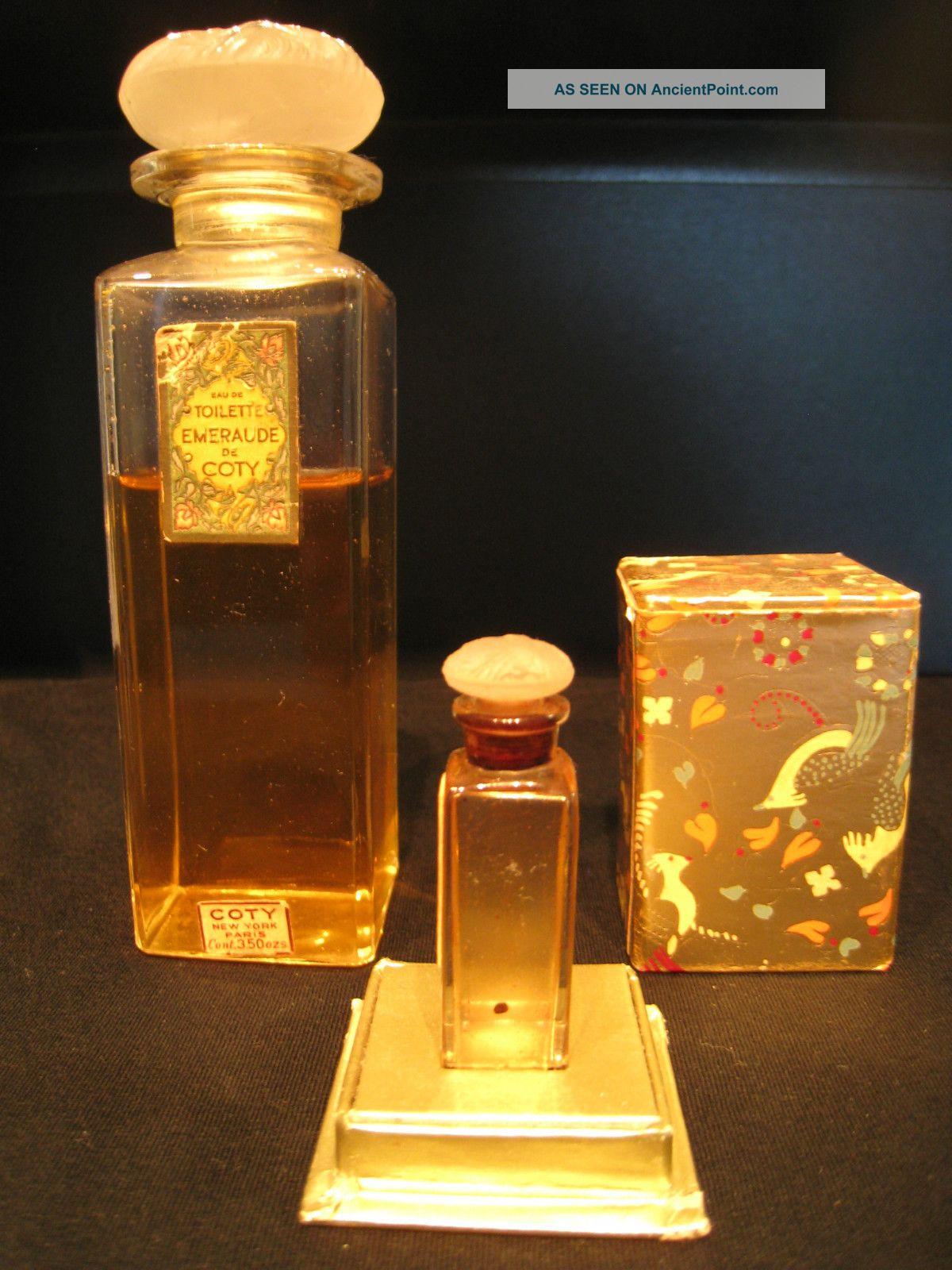 2 Rare Gorgeous Lalique Vintage Perfume Bottles C1930 Coty Emeraude & Miniature Perfume Bottles photo