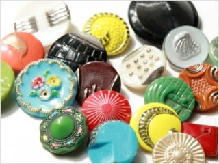 Collection Lot Group 20 Vintage Czech Glass Buttons photo