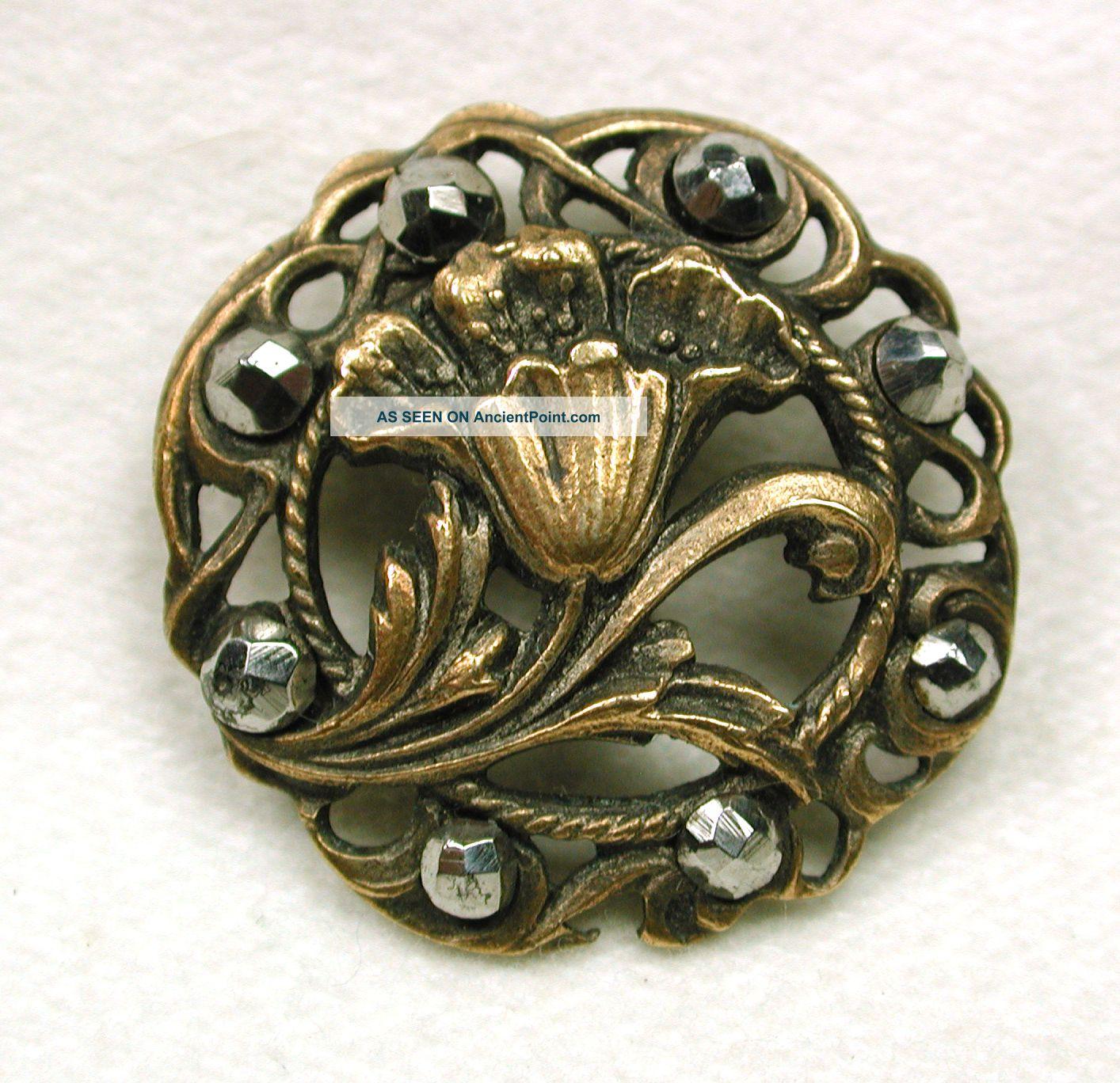 Antique Pierced Brass Button Art Nouveau Flower W/ Cut Steels Border Buttons photo