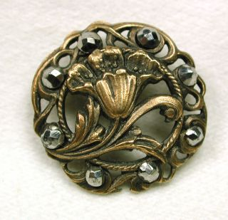 Antique Pierced Brass Button Art Nouveau Flower W/ Cut Steels Border photo