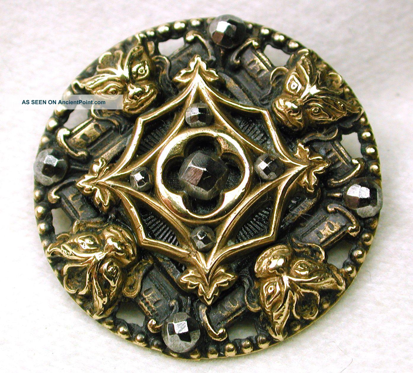 Antique Pierced Brass Button 4 Gargoyles Design With Cut Steel Accents Buttons photo