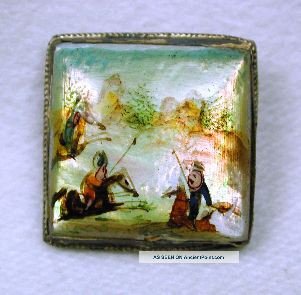 Antique Shell Dome Button Hand Painted Equestrian Scene Square Sterling Setting Buttons photo