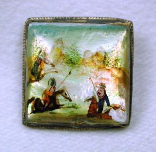Antique Shell Dome Button Hand Painted Equestrian Scene Square Sterling Setting photo