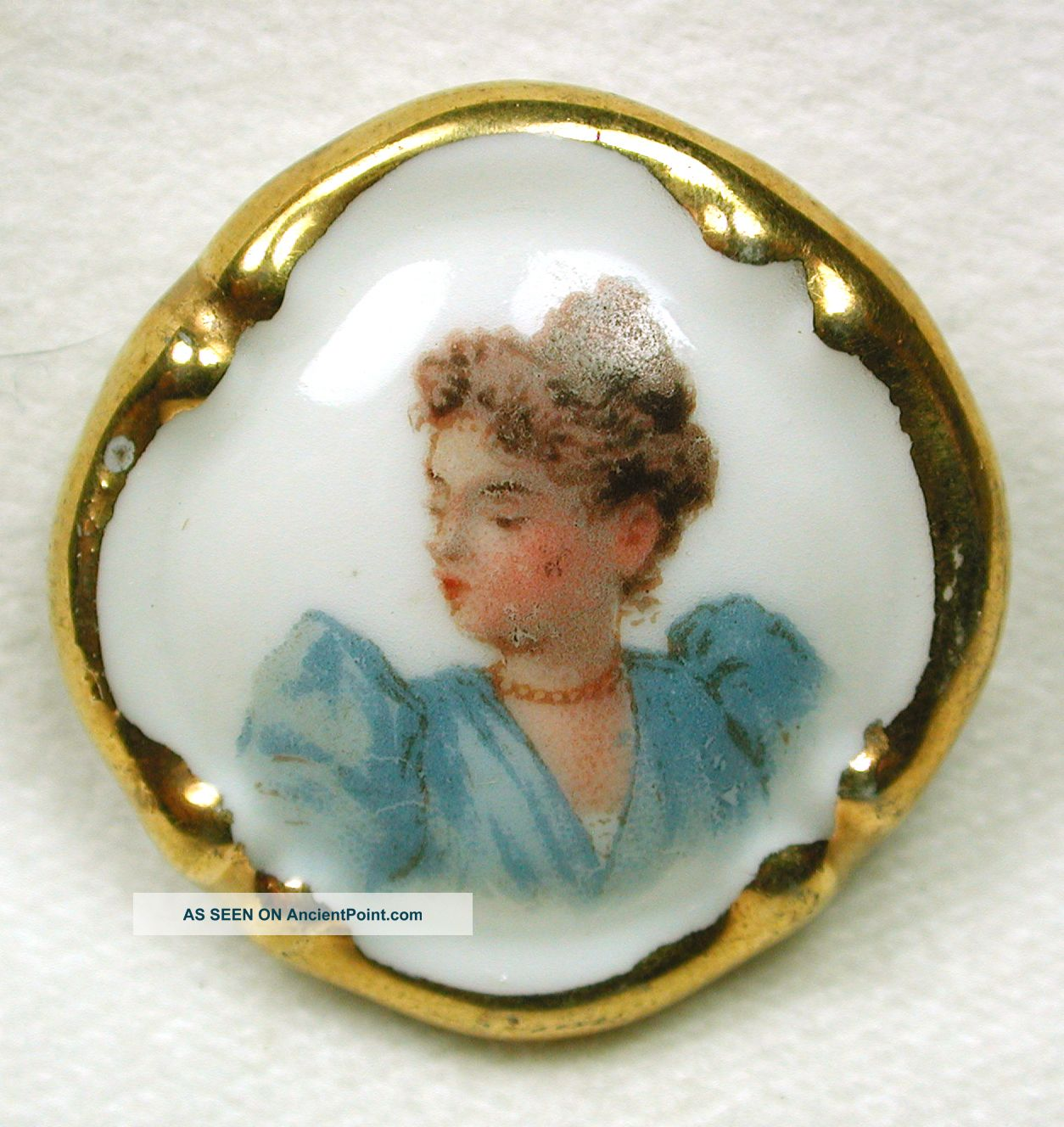 Antique Limoges Porcelain Button Hand Touched Transfer Woman W/ Gold Border Buttons photo