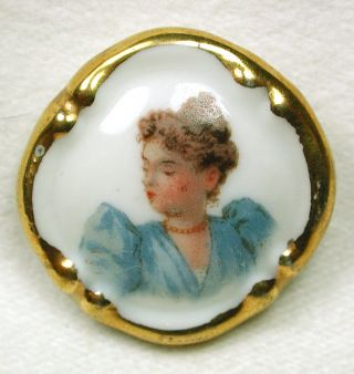 Antique Limoges Porcelain Button Hand Touched Transfer Woman W/ Gold Border photo