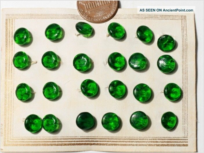 24 Doll Green Transparent Depression Glass Buttons Card 8 Mm Antique Vtg Czech Buttons photo