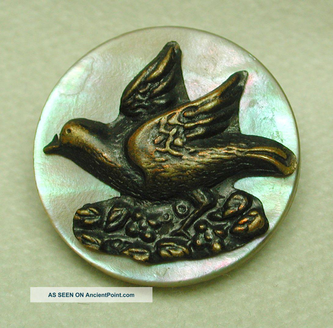 Antique Button Brass Bird Escutcheon On Iridescent Shell Buttons photo