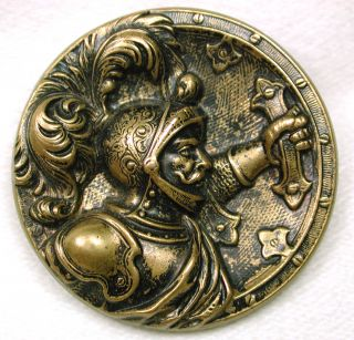 Antique Brass Picture Button Detailed Knight With Shield As Button Back photo