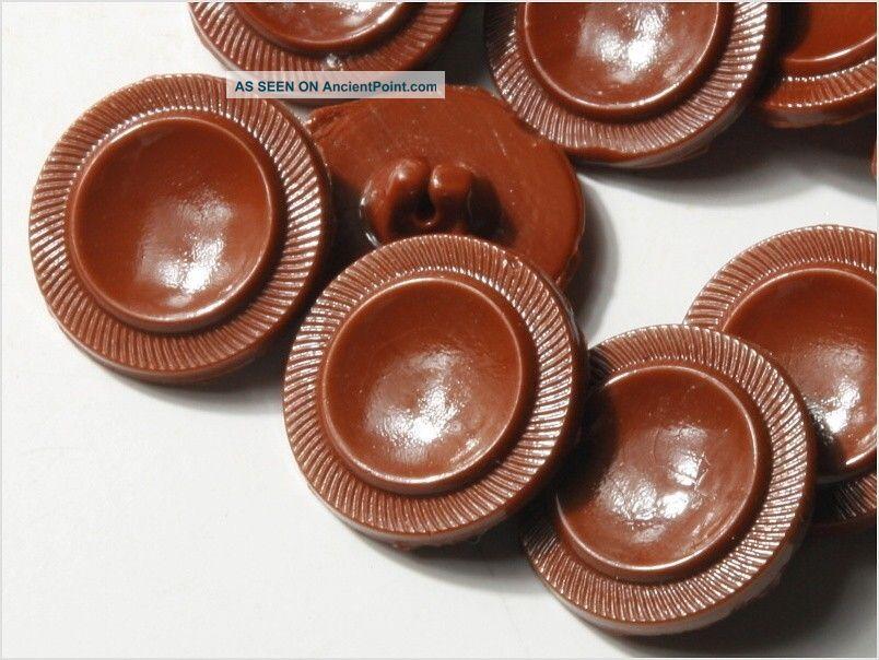 (24) 18 Mm Rough Antique Vintage Czech Brown Deco Glass Buttons 20´s Buttons photo