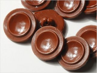 (24) 18 Mm Rough Antique Vintage Czech Brown Deco Glass Buttons 20´s photo
