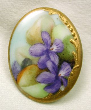 Antique Oval Porcelain Button Hand Painted Purple Flowers W/ Gilt Border Lg Sz photo