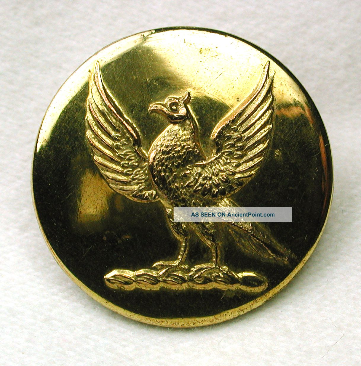 Antique Brass Crest Livery Button Bird With Wings Spread Buttons photo