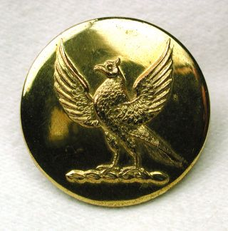 Antique Brass Crest Livery Button Bird With Wings Spread photo