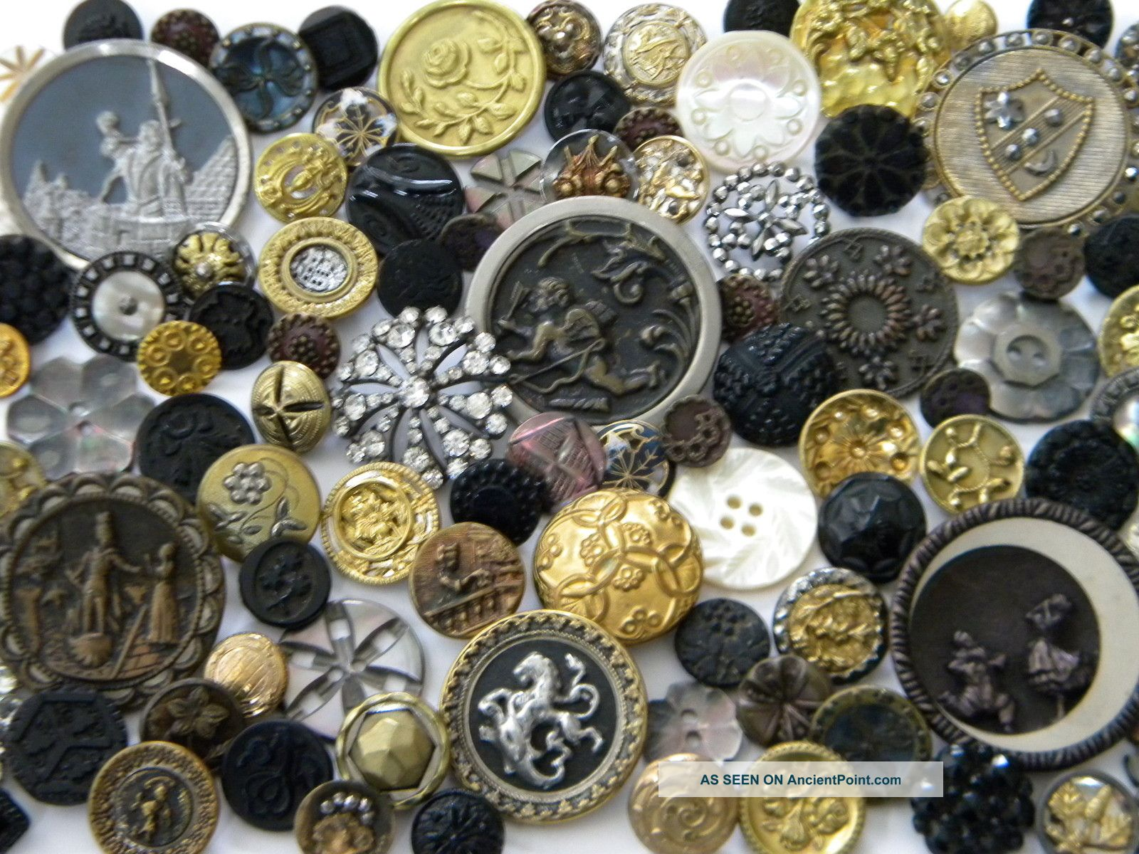102 Antique Vintage Metal Buttons Victorian Cut Steel Old Steels Brass Picture Buttons photo