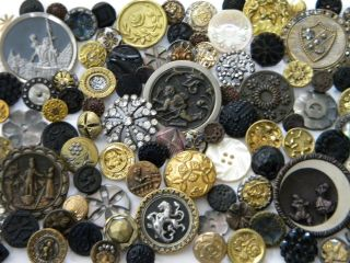 102 Antique Vintage Metal Buttons Victorian Cut Steel Old Steels Brass Picture photo