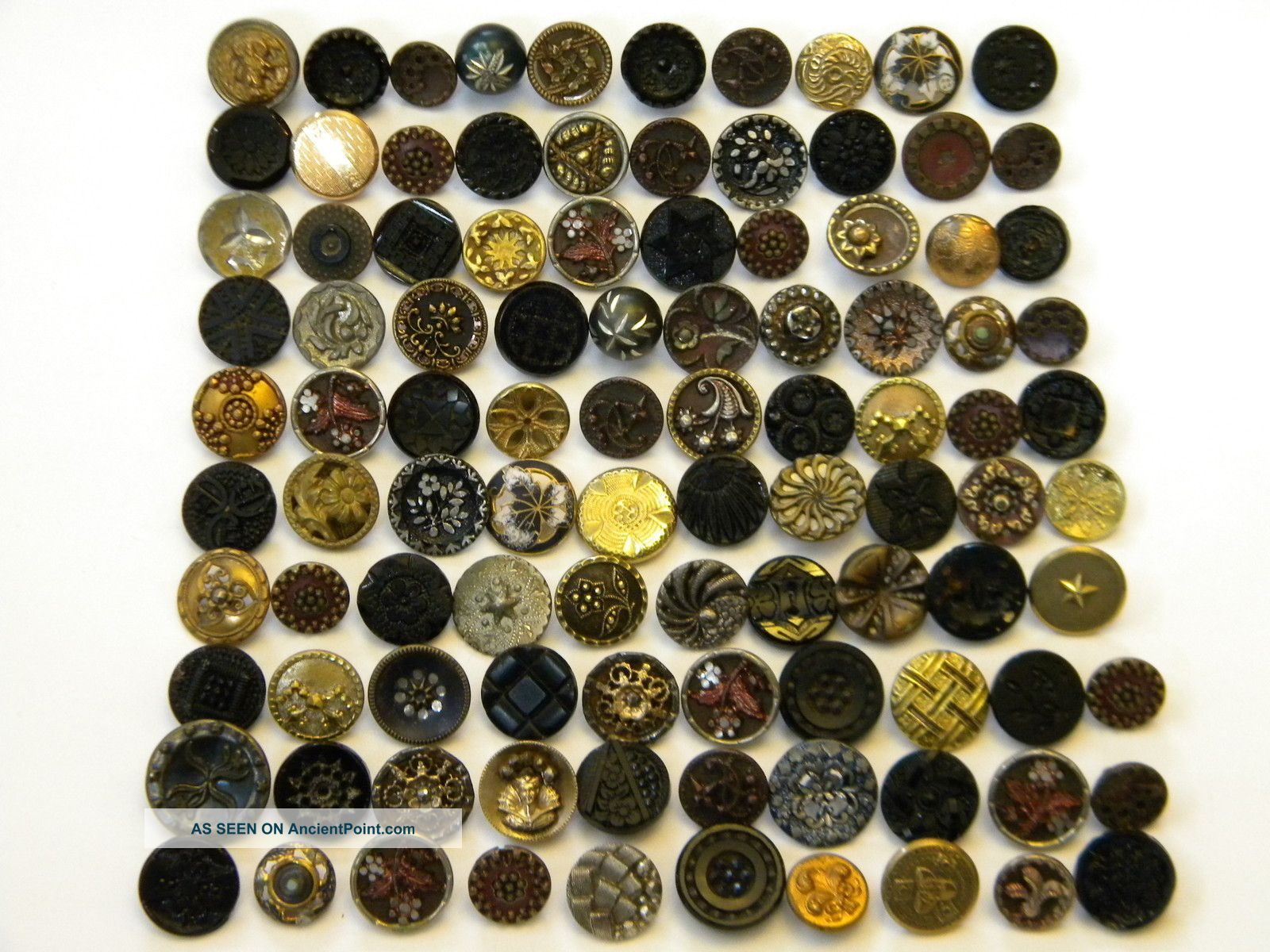 100 Antique & Vintage Metal Buttons Victorian Cut Steel Old Brass Picture Tinies Buttons photo