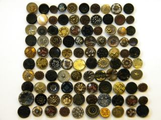 100 Antique & Vintage Metal Buttons Victorian Cut Steel Old Brass Picture Tinies photo