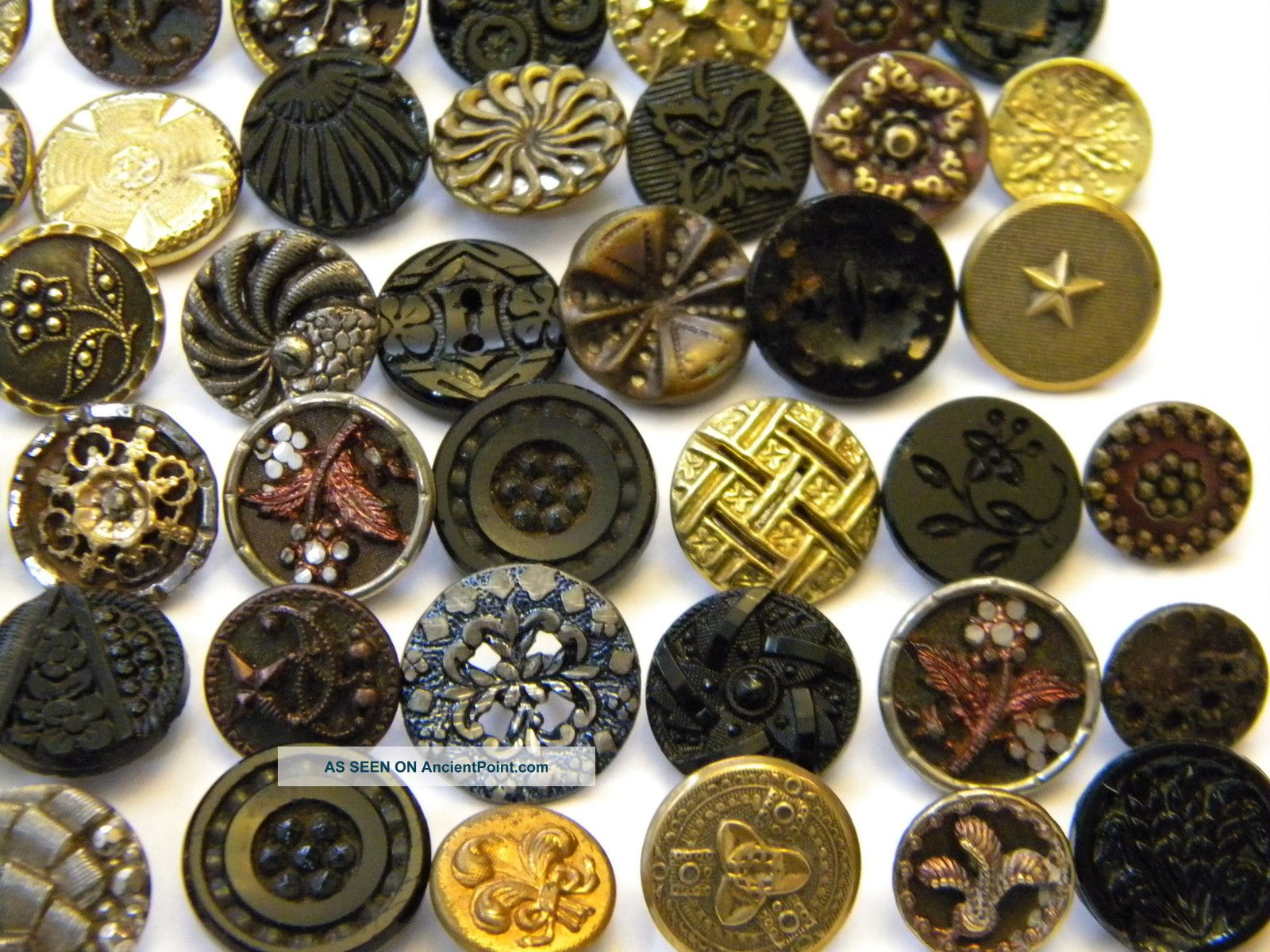 39338 100 Antique Vintage Metal Buttons Victorian Cut Steel Old Brass