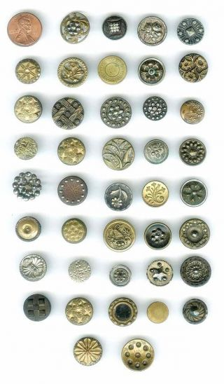 40+ Small Antique Victorian Metal Buttons Cut Steels Pewter Etc 1800's photo