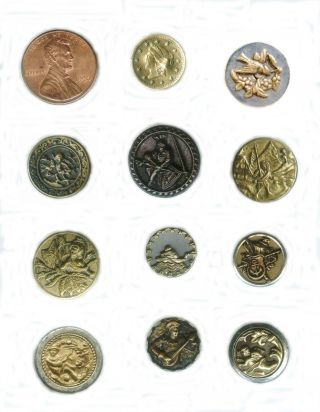 Lot 11 Antique Metal Small Picture Buttons Brass Coin Bird Cupid Fairies 1800's photo