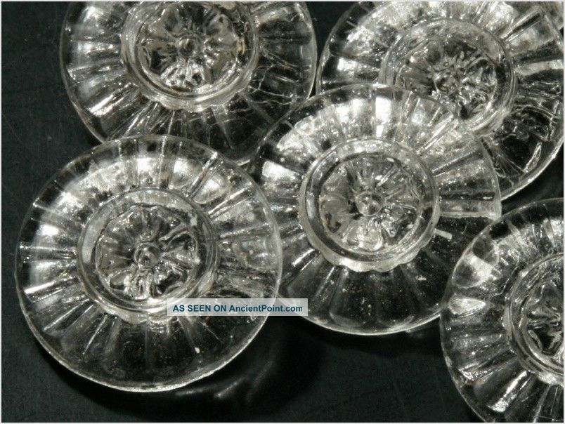 (24) 18 Mm Vintage Deco Czech Fancy Clear Crystal Glass Buttons Daisy Flower Buttons photo