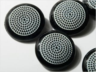 (6) 22 Mm Vintage Art Deco Czech Fancy Black Glass Buttons photo