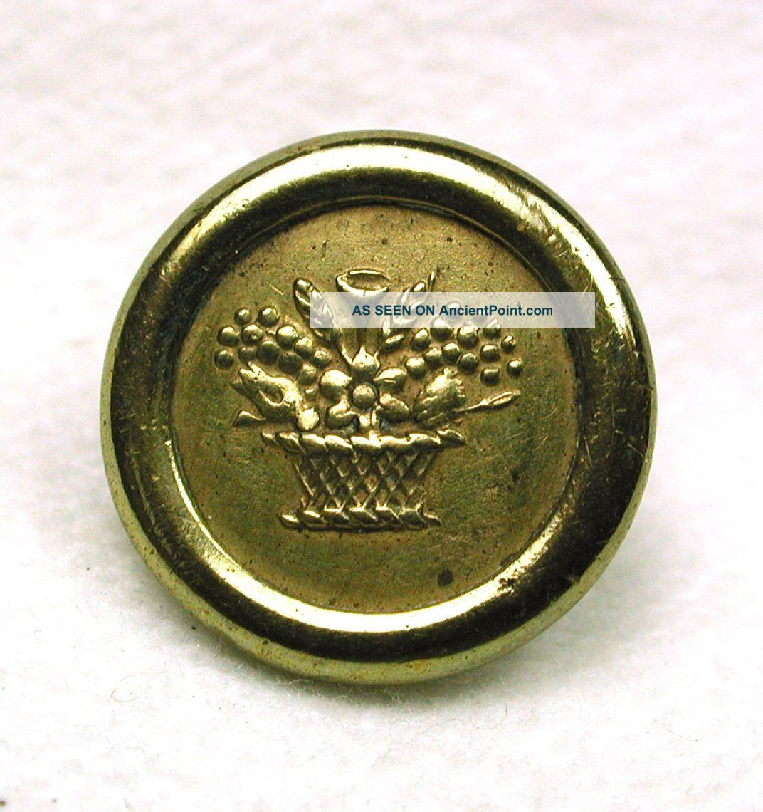 Antique Brass Jacksonian Button Flower Basket Design Buttons photo